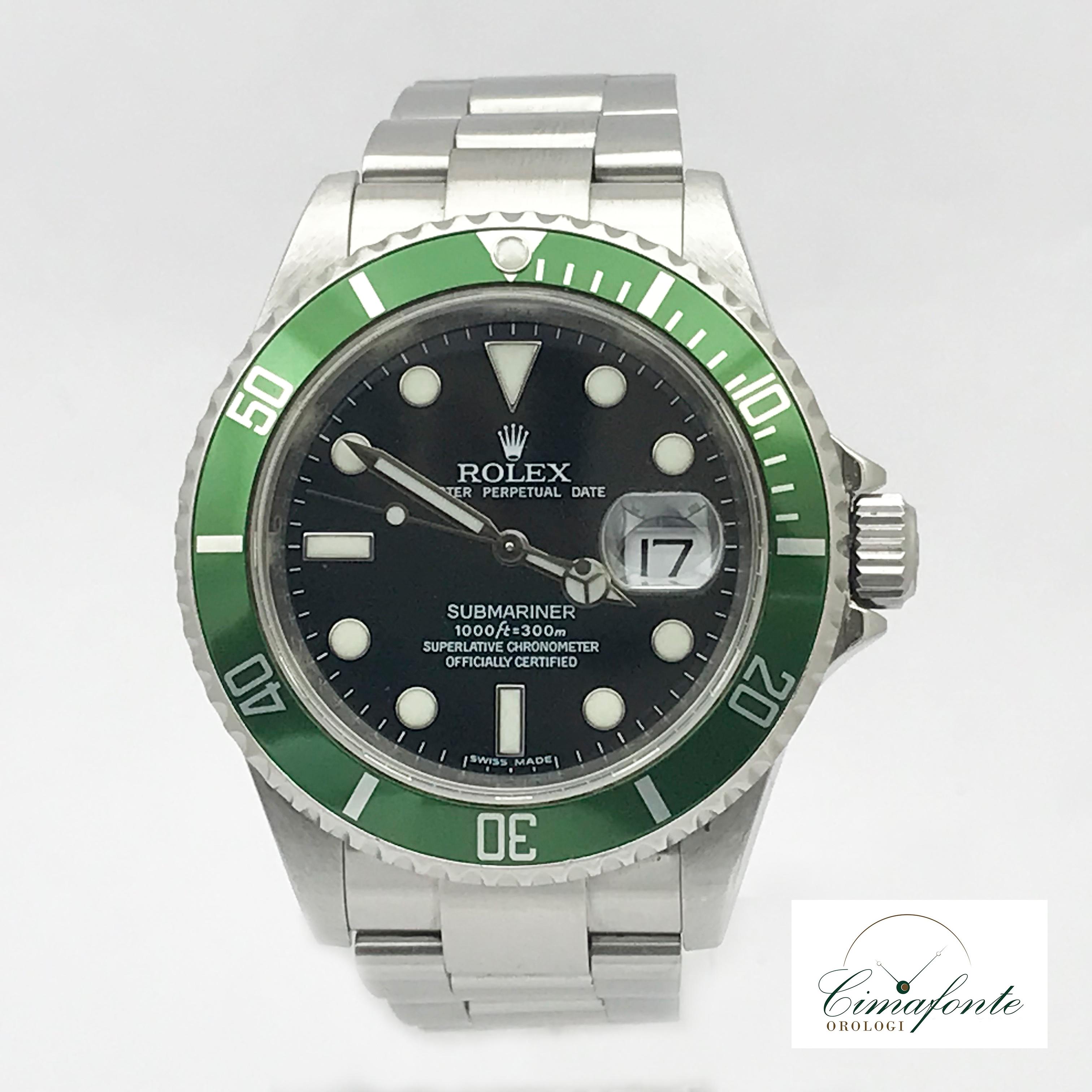 Rolex Submariner 16610 ghiera verde 2008 rrr