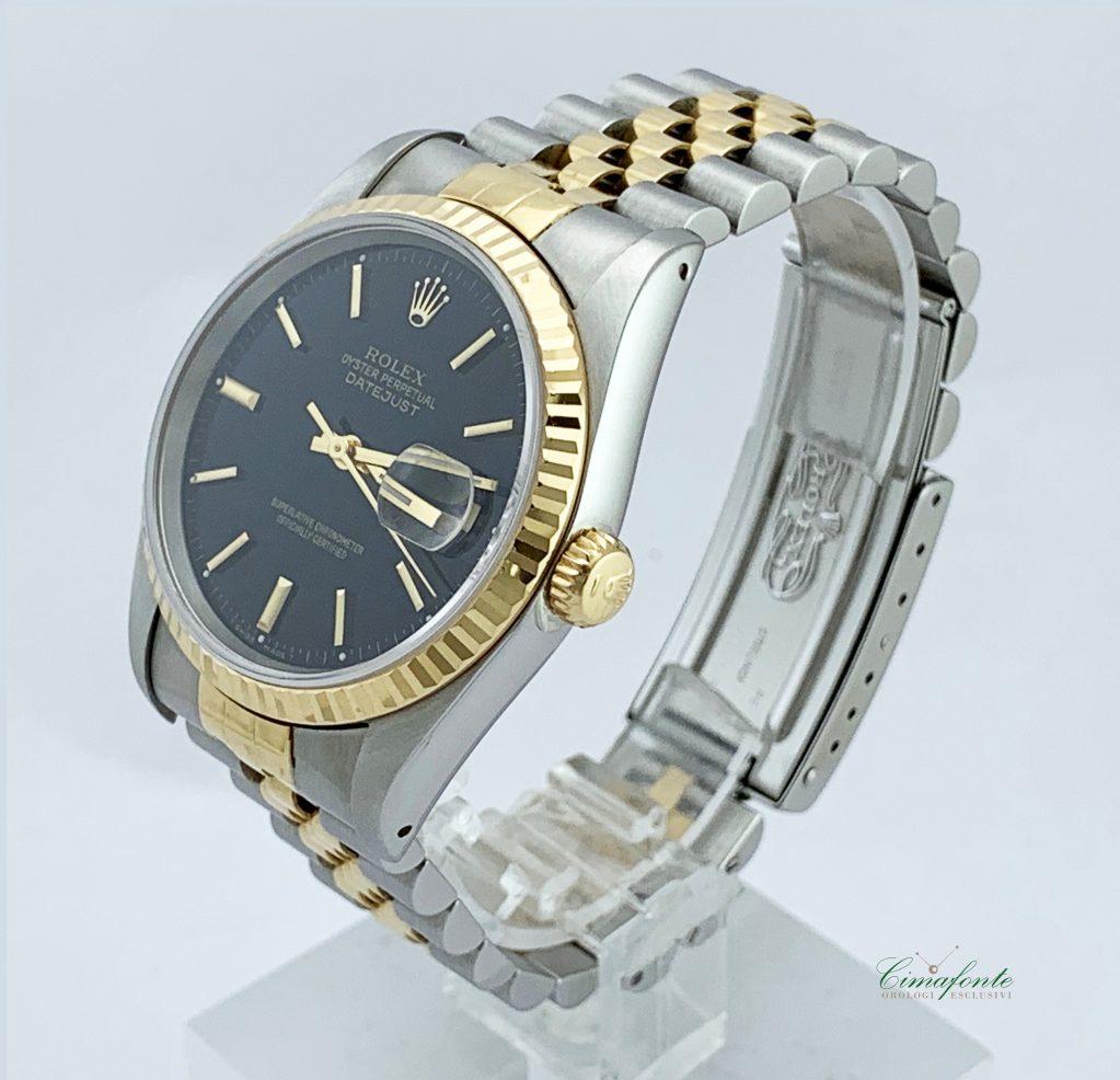 Rolex Datejust ref.16233 Acciaio e oro Secondo Polso mm36. Quadrante Nero