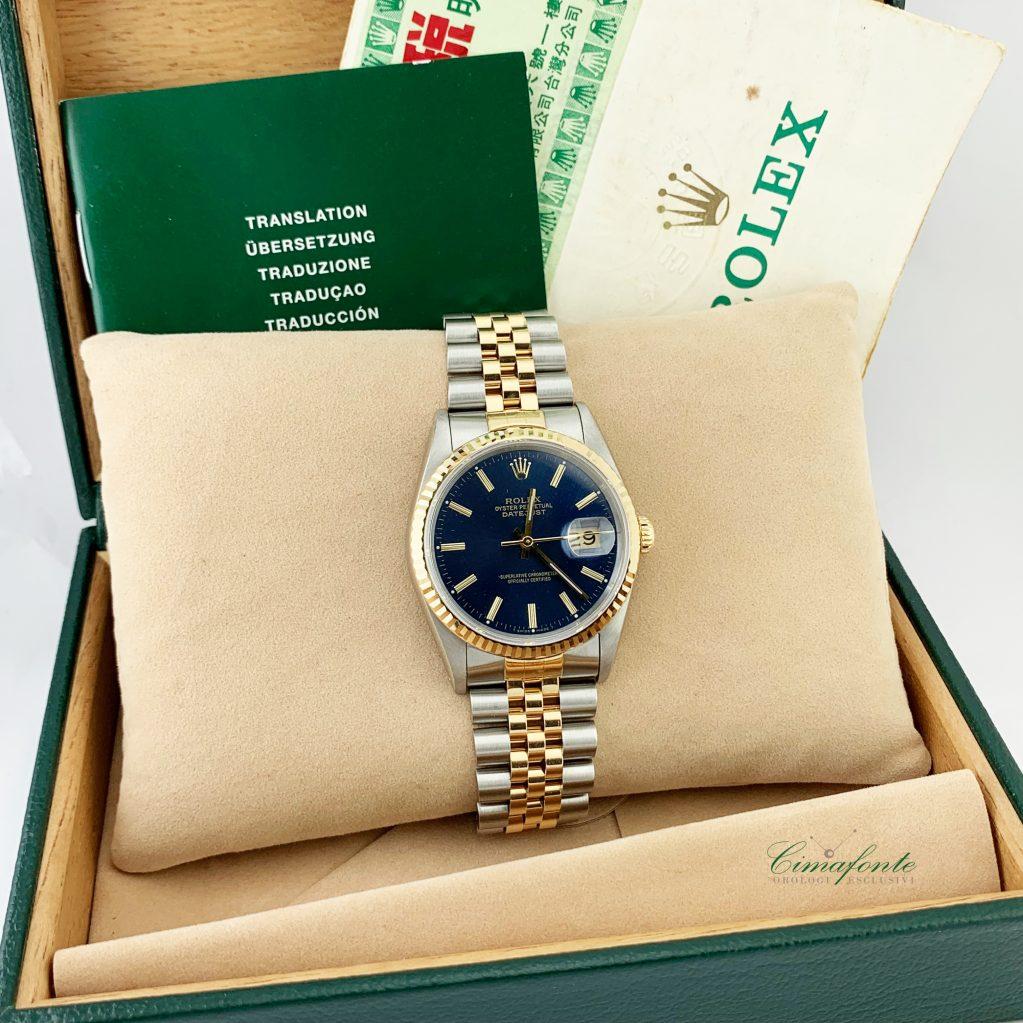 Rolex Datejust ref.16233 Acciaio e oro Secondo Polso mm36.