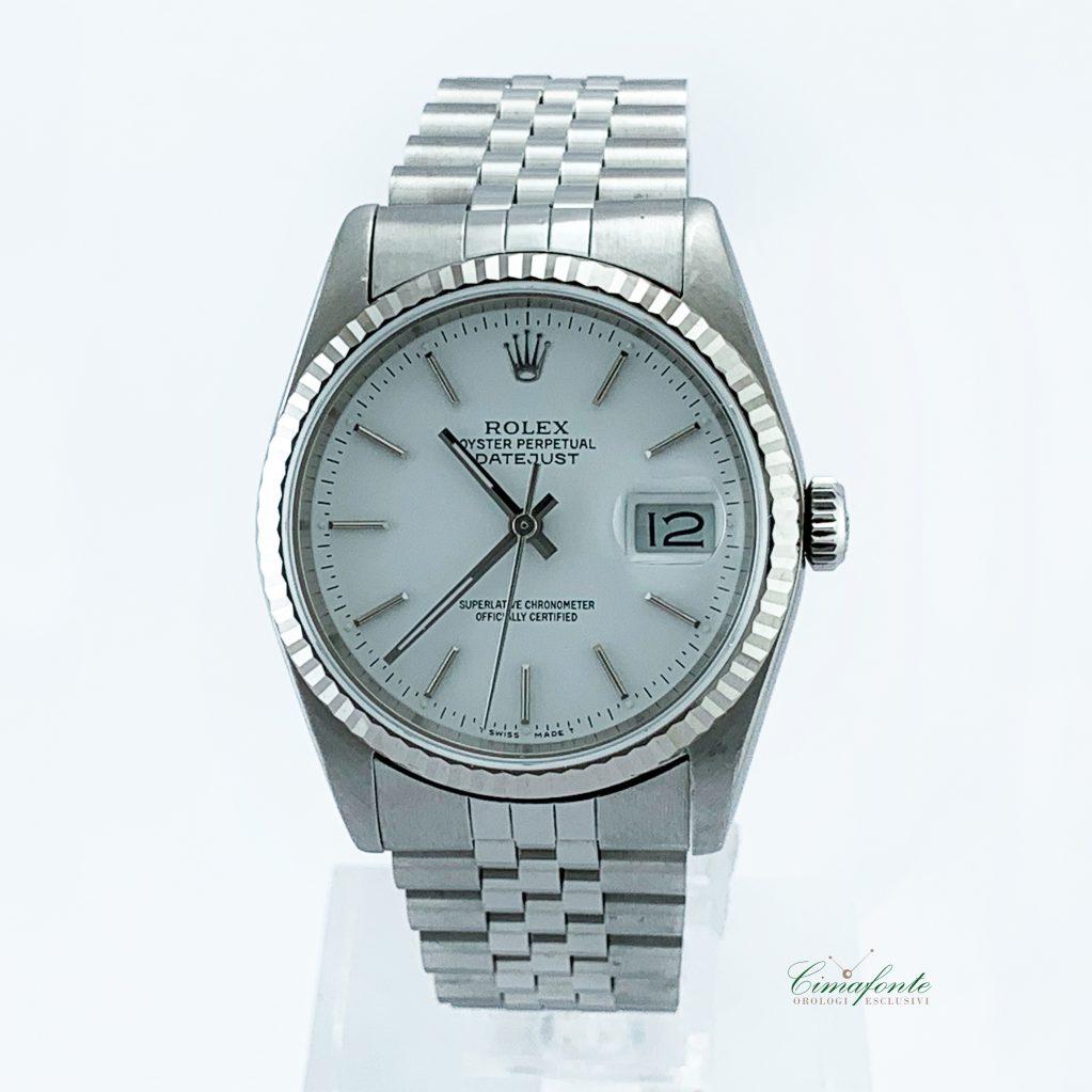 Rolex Datejust ref.16234 mm.36 bianco Dial Secondo Polso lunetta oro