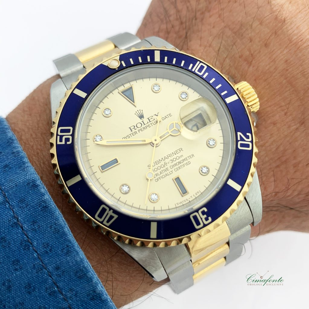 Rolex Submariner acciaio\oro 16613 sultan Dial secondo polso