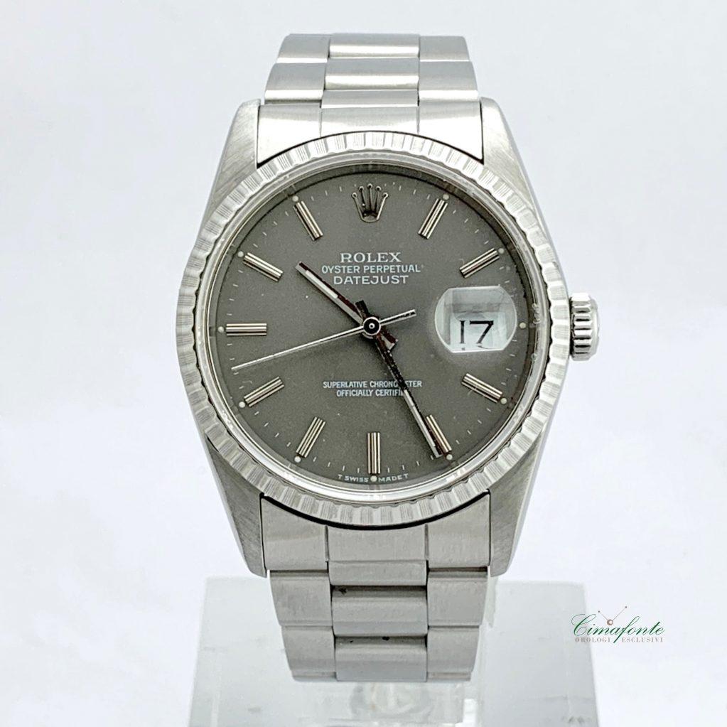 Rolex Datejust ref.16220 1990 quadrante grigio secondo polso