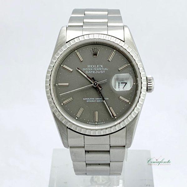 Rolex Datejust 16220 1990 quadrante grigio secondo polso