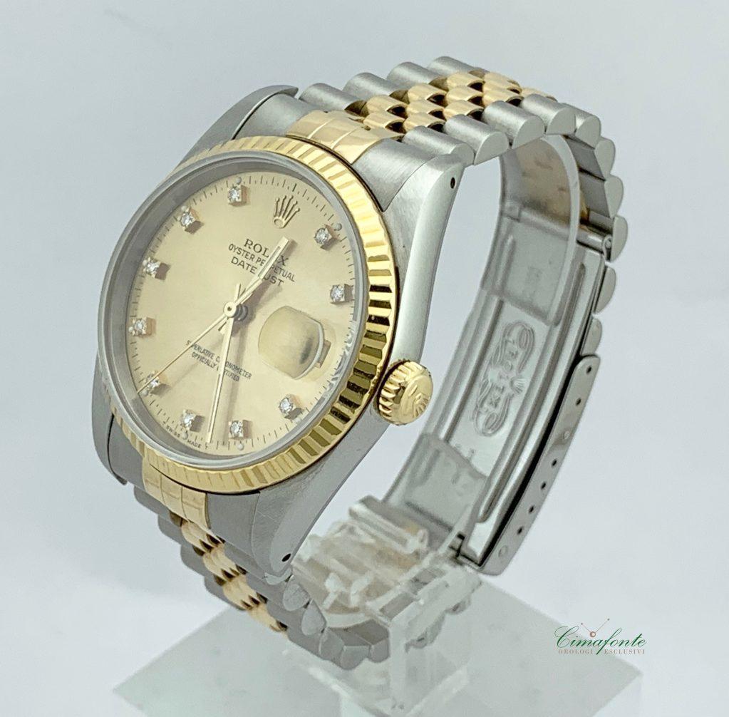 Rolex Datejust ref.16233 Acciaio e oro Secondo Polso mm36. Quadrante Champagne con Brillanti