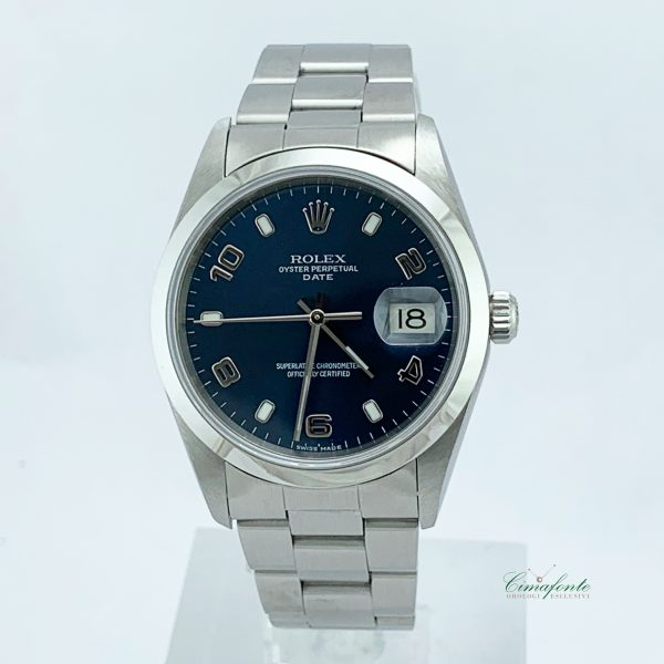 Rolex Date 15200 2000 34mm Usato Acciaio oyster Blu Dial