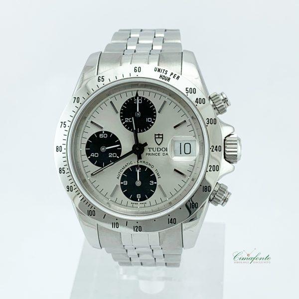 Tudor Prince Cronograph 79280 2002 39mm usato Acciaio dial Argento