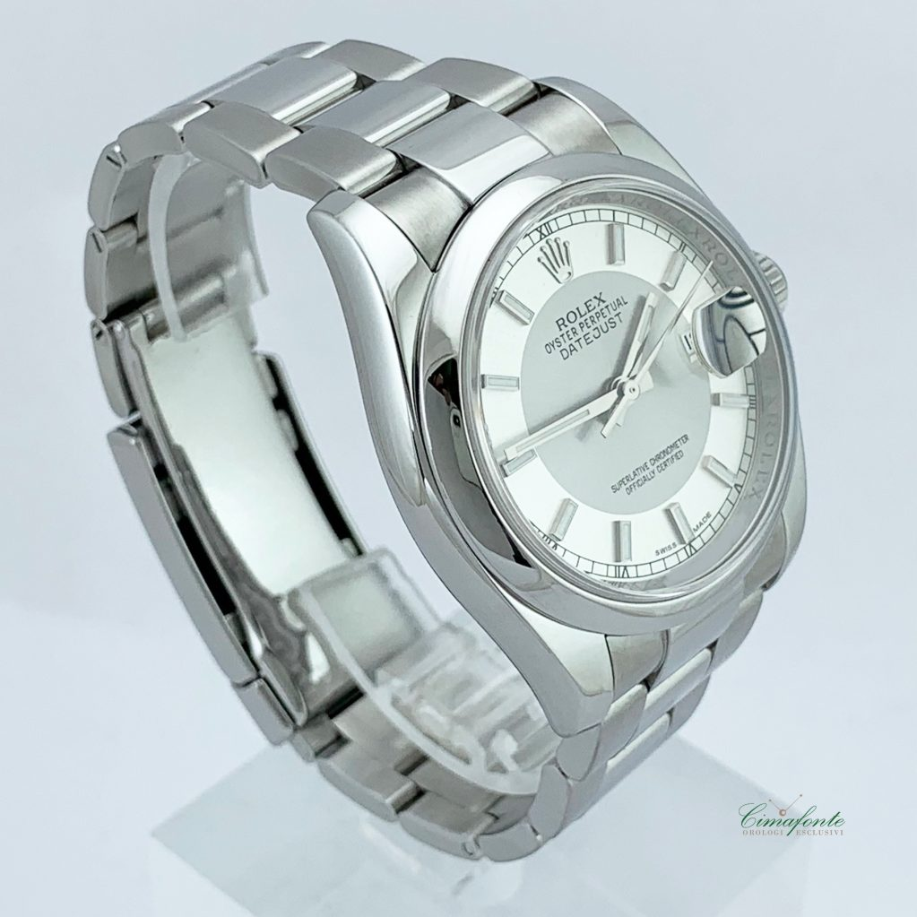 Rolex Datejust 116200 2012 Acciaio Oyster Dial Bitono secondo polso