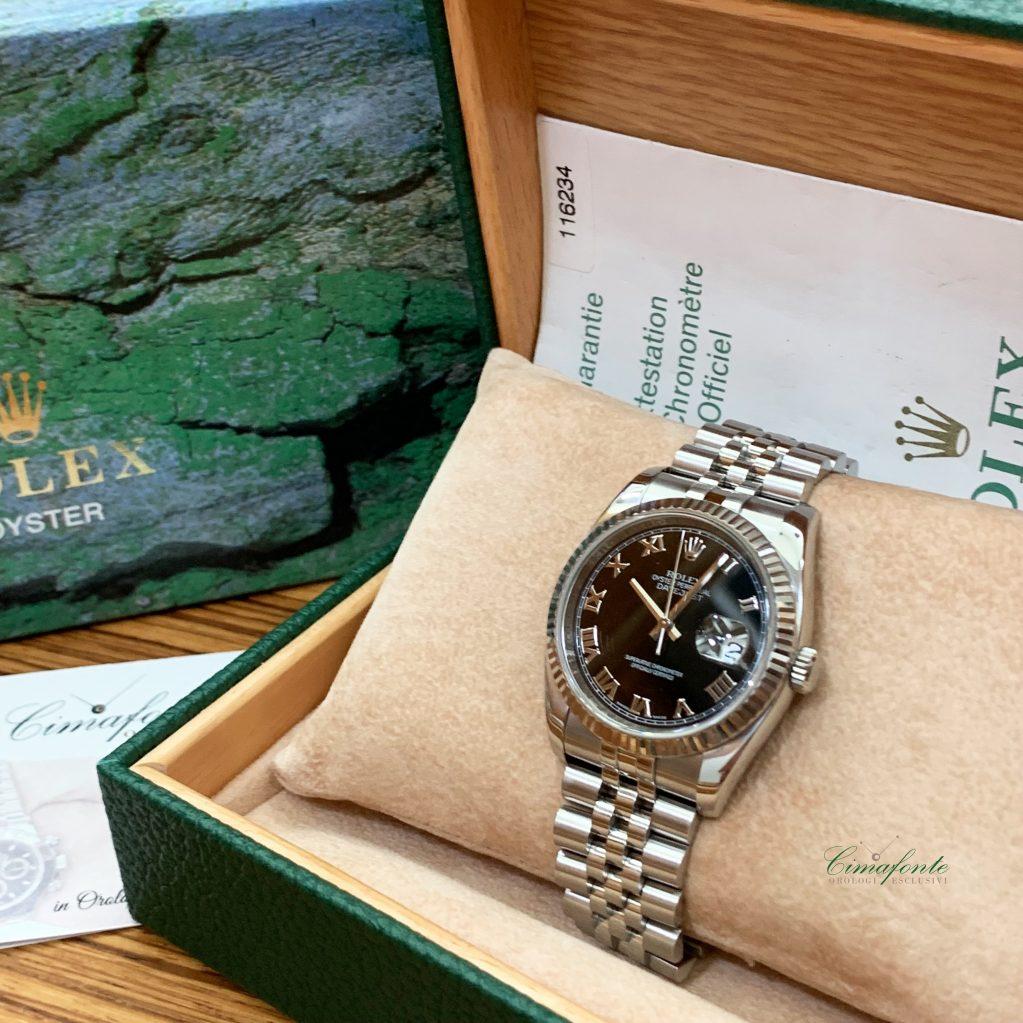 Rolex Datejust 116234 Dial Nero Numeri Romani bracciale Jubilee Secondo Polso